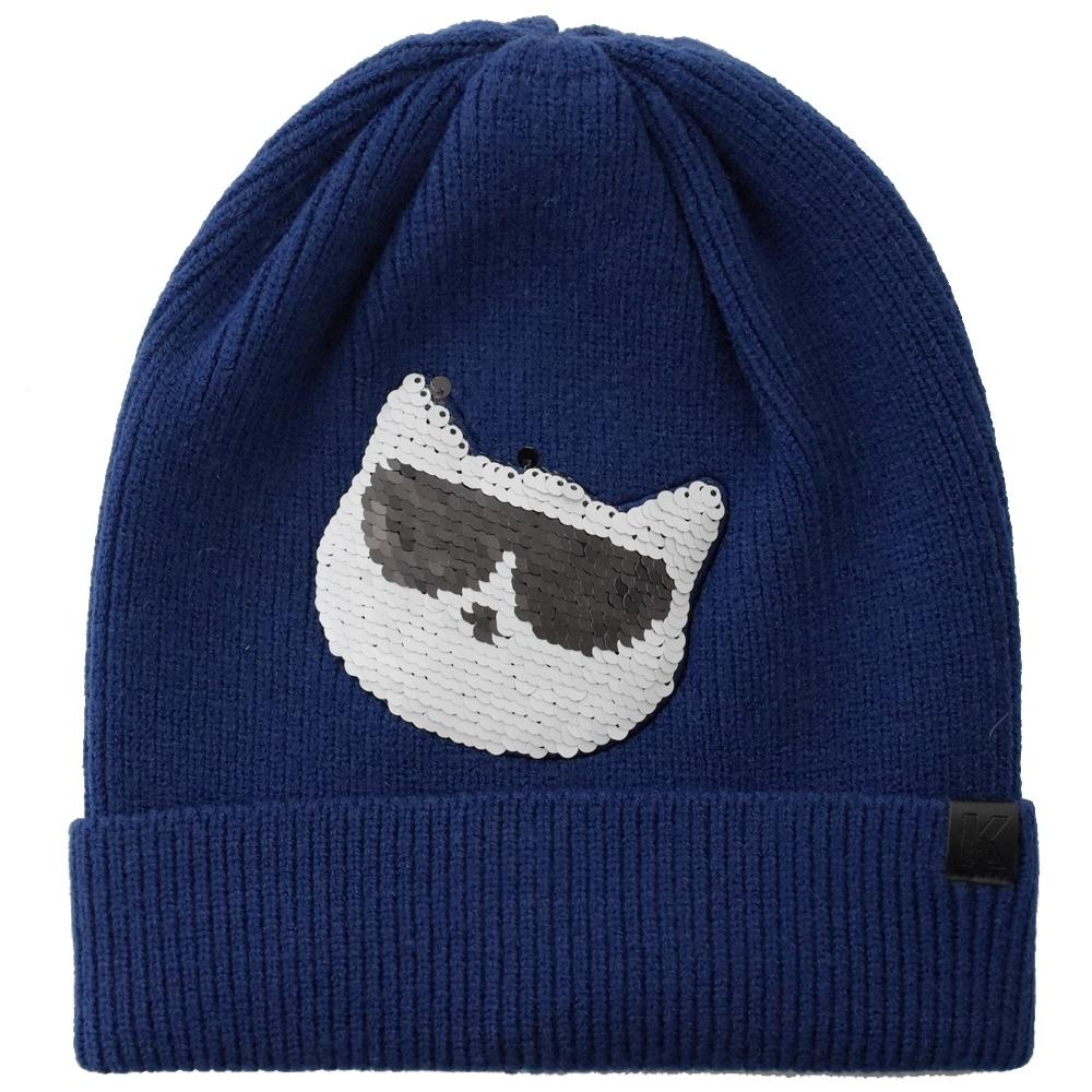 KARL LAGERFELD 亮面貓咪墨鏡造型針織毛帽(藍)