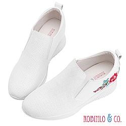 Robinlo & Co.古典刺繡真皮內增高休閒鞋 白色