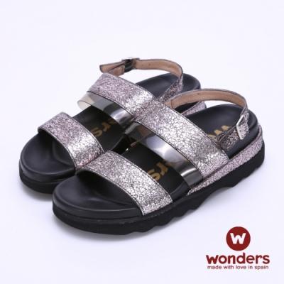WONDERS西班牙進口 金箔亮麗雙飾釦後帶涼拖鞋-錫色