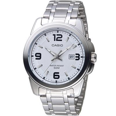 CASIO 簡約大三針日曆休閒腕錶(MTP-1314D-7A)白/46mm