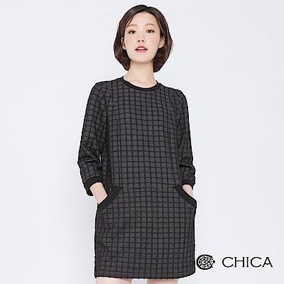 CHICA 玩味經典七分袖口袋格紋洋裝(2色)