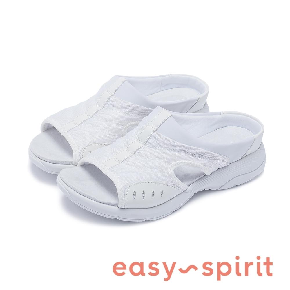 Easy Spirit-seTRACIEE2 側挖空透氣休閒拖鞋-白色
