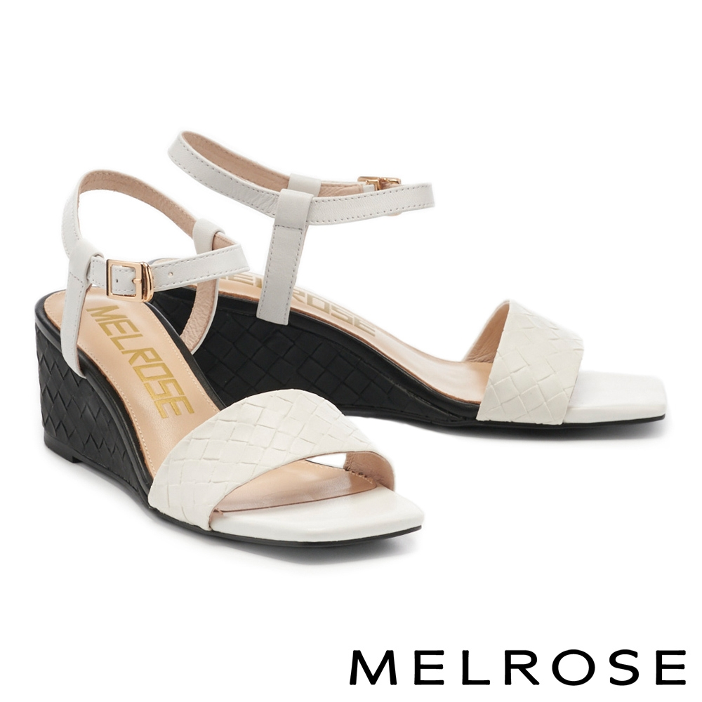 涼鞋 MELROSE 愜意休閒編織一字方頭楔型高跟涼鞋-白