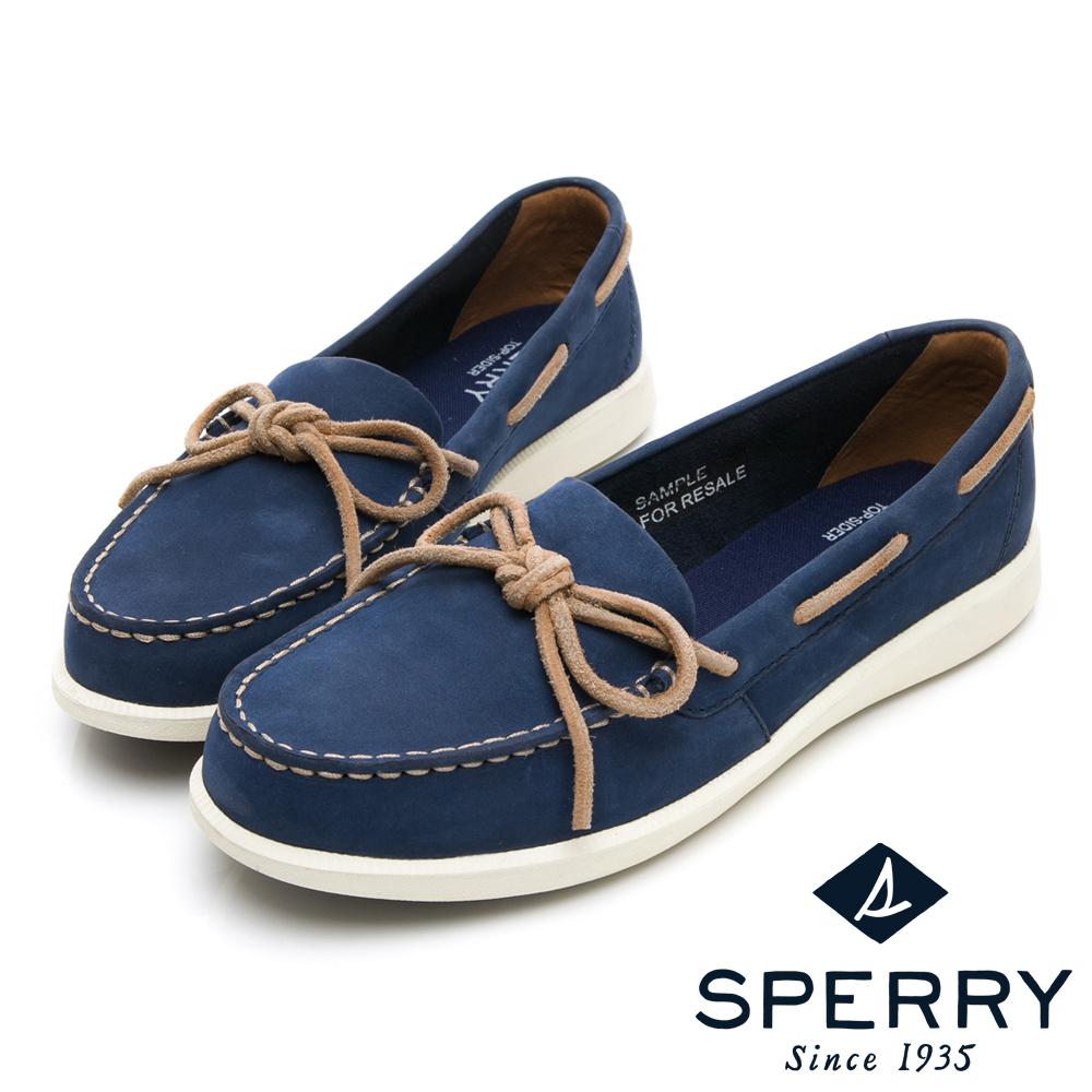 SPERRY 頂級牛皮經典手工縫製帆船鞋(女)-海軍藍