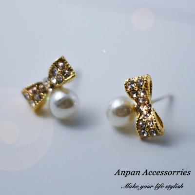 【ANPAN愛扮】韓東大門百搭蝴蝶結珍珠925銀針耳針式耳環
