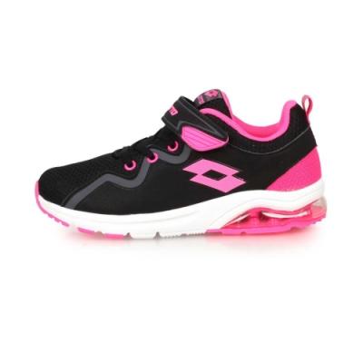 LOTTO 男女兒童氣墊跑鞋-慢跑 路跑 黑粉紅
