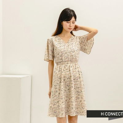 H:CONNECT 韓國品牌 女裝-甜美碎花後綁帶短洋裝