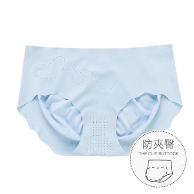 無痕內褲 升級裸感防夾臀冰絲女性內褲 M-XL (藍色) alas