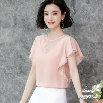 Mandy國際時尚 時尚小V飛袖洋氣寬鬆短袖雪紡上衣 (3色)【韓國服飾】