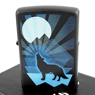 ZIPPO 美系~Wolf and Moon-狼與月圖案設計打火機