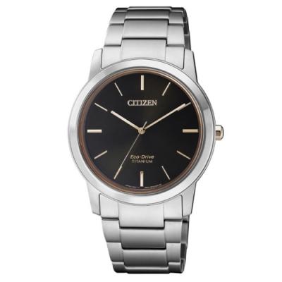 CITIZEN 星辰 PAIR鈦金屬腕錶-黑x玫瑰金/34mm(FE7024-84E)