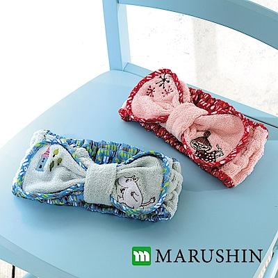日本丸真 Moomin毛巾布蝴蝶結髮帶-藍色線條