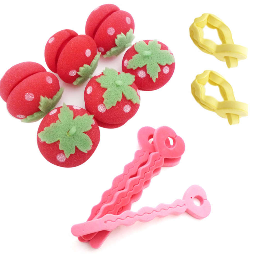 kiret 軟式草莓髮捲球+愛心海綿空氣感髮捲-捲髮造型組(顏色隨機)