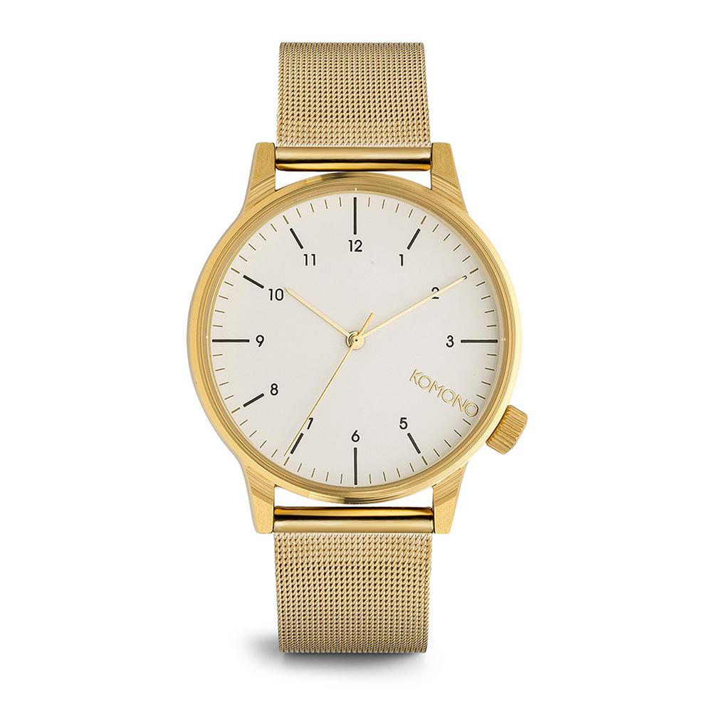 KOMONO Winston Royale 腕錶-琥珀金x白/41mm