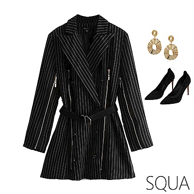 SQUA 條紋拉鍊西裝外套 (附腰帶)