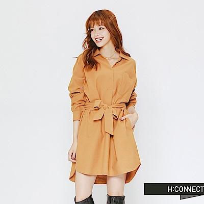 H:CONNECT 韓國品牌 女裝-可拆式腰帶連身洋裝-卡其