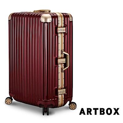 【ARTBOX】威尼斯漫遊 26吋PC鏡面鋁框行李箱 (鋼鐵紅)