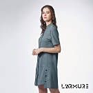 L'ARMURE 女裝 立領 襯衫洋裝 藍綠色