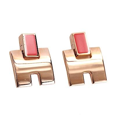 HERMES Eileen H 經典圓弧設計耳環(覆盆莓x玫瑰金)