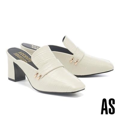 穆勒鞋 AS 復古時髦鱷魚紋全真皮方頭高跟穆勒拖鞋-白