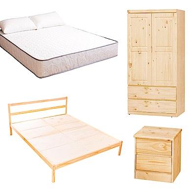AS-頂級松木雙人床四件房間組(床架 床墊 床頭櫃 衣櫥)