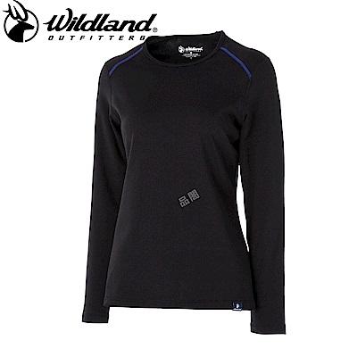 【Wildland 荒野】女輕量抗菌親膚保暖衣黑