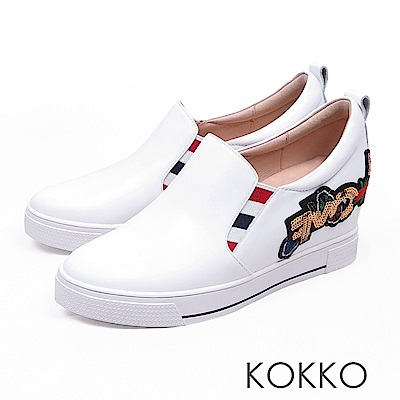 KOKKO -亮眼奪目刺繡真皮內增高休閒鞋-潮流白