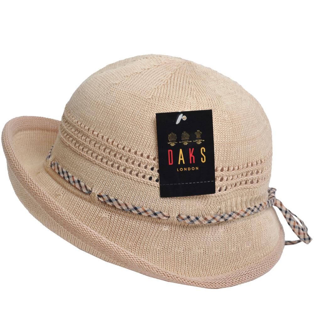 DAKS 日本製格紋滾邊造型蝴蝶結格紋LOGO滾邊造型帽(米卡其色)
