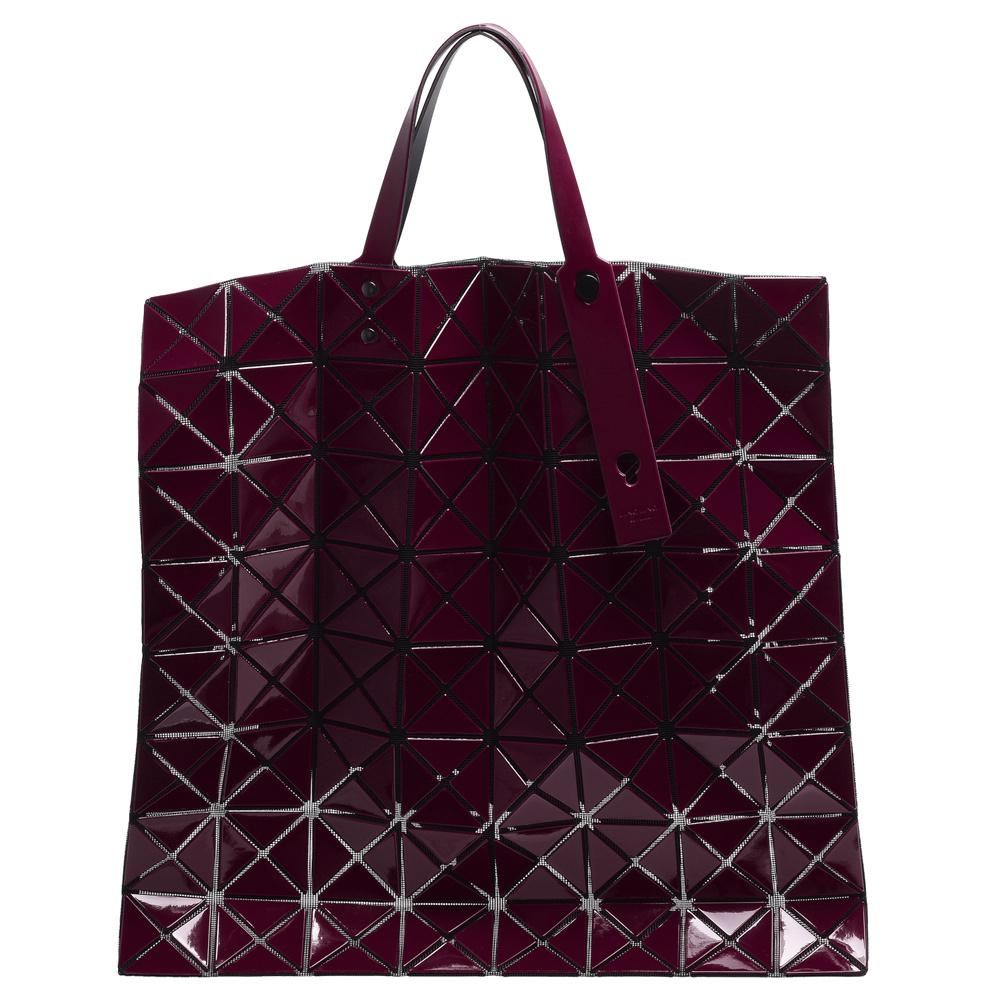ISSEY MIYAKE 三宅一生BAOBAO幾何方格10X10手提包(酒紅色)