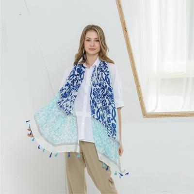 【KiKi】暈染圖騰印花-女用圍巾(藍色/版型適中)