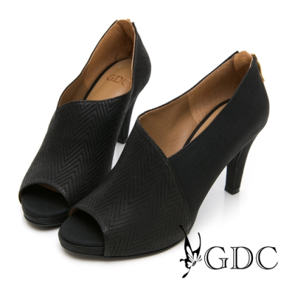 GDC-真皮拼接設計感都會魚口跟鞋-黑色