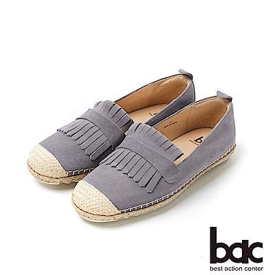 bac加州陽光 - 3M防潑水麂皮流蘇草編平底休閒鞋-藍灰
