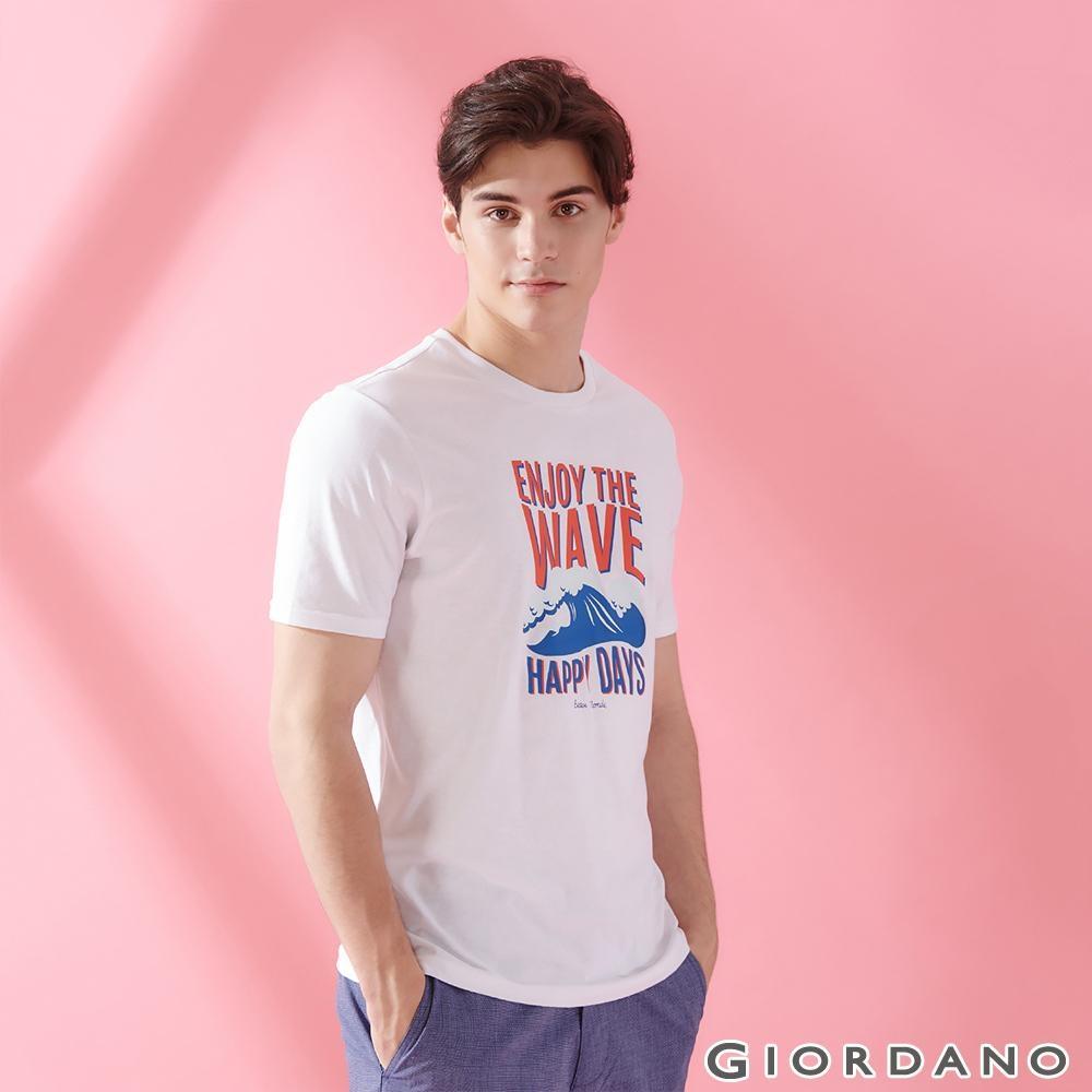 GIORDANO 男裝SUN AND SEA系列印花短袖T恤-61 標誌白