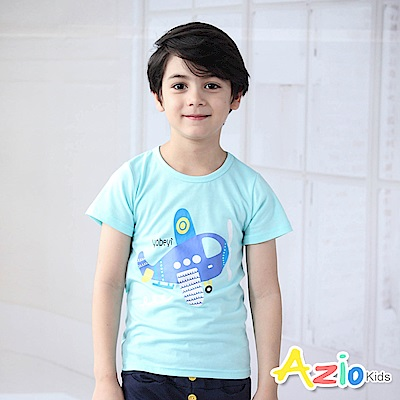 Azio Kids 上衣 Q版飛機字母印花短袖T恤(藍)