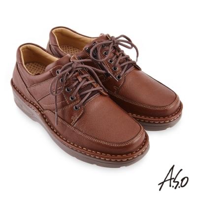A.S.O  機能休閒 手縫氣墊綁帶商務休閒鞋-茶