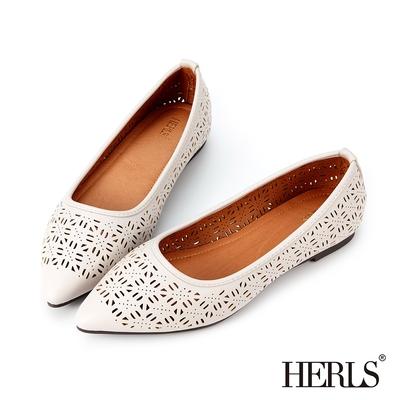 HERLS平底鞋 氣質優雅花窗鏤空尖頭平底鞋 灰白色