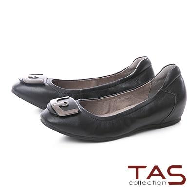 TAS U型金屬飾扣羊皮內增高娃娃鞋–實搭黑