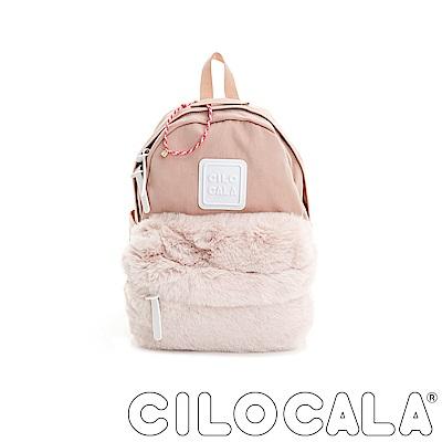 CILOCALA 限量版-亮彩尼龍毛毛防潑水後背包-粉色(小)