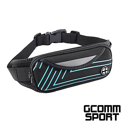 GCOMM SPORT 雙袋防汗水音樂運動腰包 直條藍