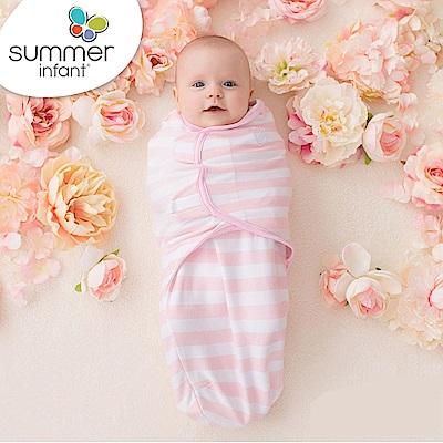 美國 Summer Infant 嬰兒包巾 懶人包巾薄款 -純棉 L 粉嫩條紋
