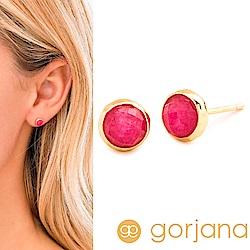 GORJANA 桃紅玉石耳環 金色寶石耳環 Pink Jade Studs
