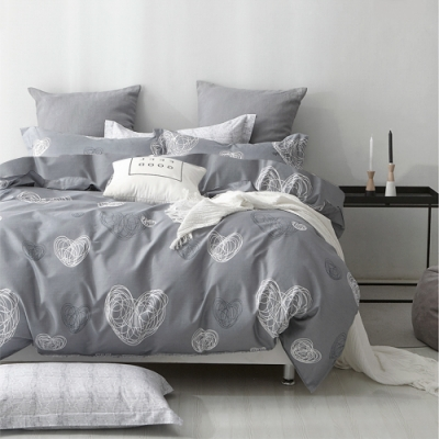 3-HO-雪紡棉 單人床包/枕套 二件組-悸動-灰