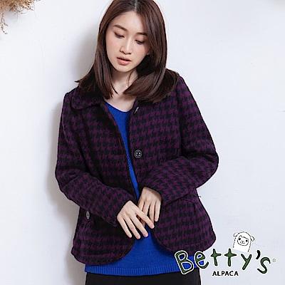 betty's貝蒂思 千鳥格紋翻領毛呢外套(深紫)
