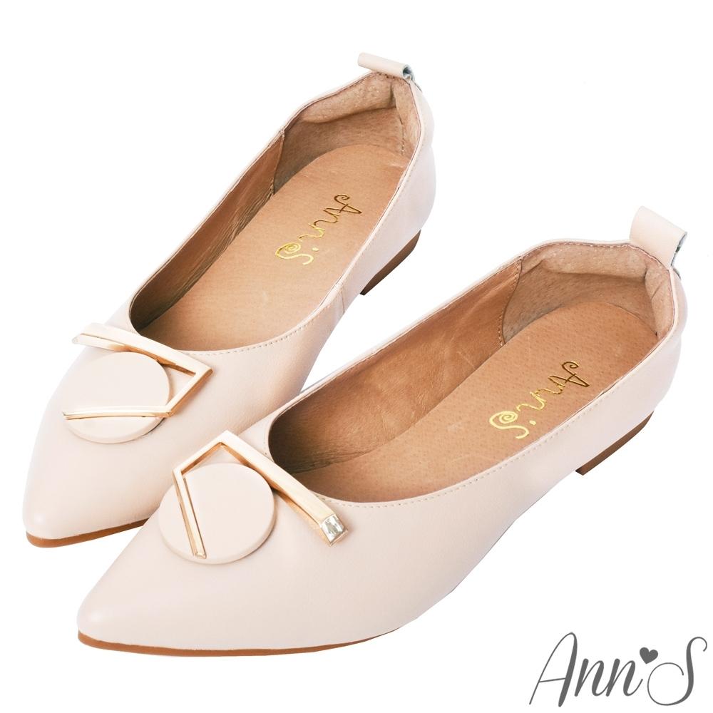 Ann'S訂製金屬圓扣全真皮尖頭平底包鞋-米白