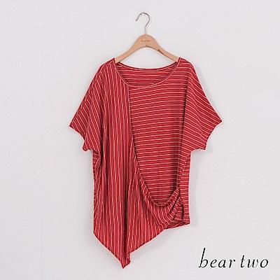 beartwo 細條紋不對稱剪裁上衣(二色)