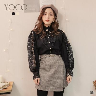 東京著衣-YOCO 歐膩最愛鏤空蕾絲雕花壓摺珍珠釦上衣