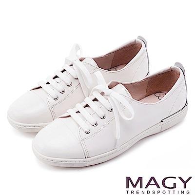 MAGY 樂活休閒 質感素面牛皮綁帶休閒鞋-白色