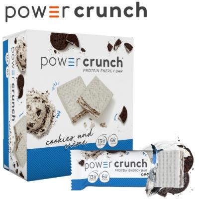 【美國 Power Crunch】Original 高蛋白能量棒 Cookies & Crème(奶油餅乾(OREO餅乾)/12x40g/盒)