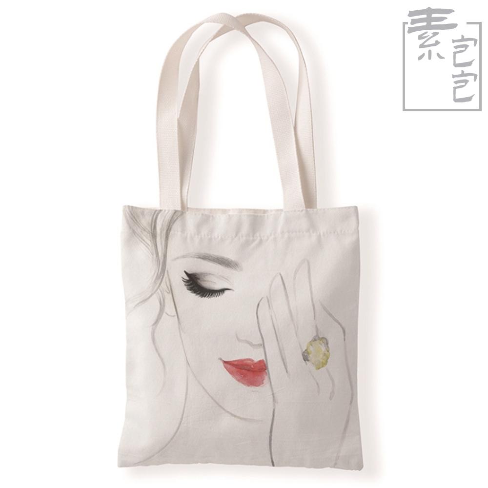 【素包包】烈焰紅唇素描風單面印花學生側背袋(8色任選)