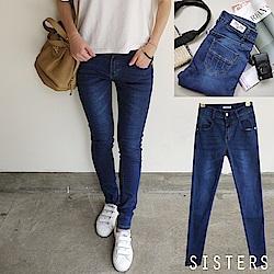深藍渲染刷色細腳美腿長褲牛仔褲 S-3L SISTERS
